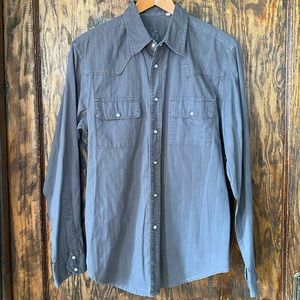 Guess men's small grey western button down small